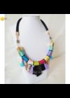 Színes, fekete, egyedi, kézműves, designer nyaklánc, nyakék  - Liv Ékszerek, ékszer