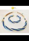 Sötétkék, türkizzöld, sárga, egyedi, kézműves, designer csavart nyaklánc, karkötő ékszerszett - Liv Ékszerek, ékszer