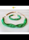 """Smaragdzöld, almazöld, egyedi, kézműves, designer """"hullám"""" nyaklánc, karkötő ékszerszett - Liv Ékszerek, ékszer"""