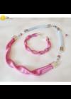 Rózsaszín, ezüst színű, egyedi, kézműves, designer, hullám nyaklánc - Liv Ékszerek, ékszer