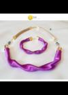 Lila színű, egyedi, kézműves, designer hullám nyaklánc  - Liv Ékszerek, ékszer