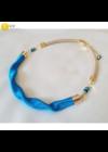Égszínkék, arany színű, egyedi, kézműves, designer, hullám nyaklánc  - Liv Ékszerek,  ékszer