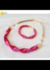 Orchidea rózsaszín, egyedi, kézműves, designer hullám nyaklánc,  karkötő ékszerszett - Liv Ékszerek, ékszer