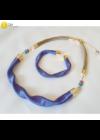 Égszínkék, rózsaszín csíkos, egyedi, kézműves, designer, hullám nyaklánc, karkötő ékszerszett  - Liv Ékszerek, ékszer