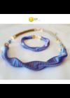 Égszínkék, rózsaszín csíkos, egyedi, kézműves, designer, hullám nyaklánc - Liv Ékszerek, ékszer