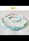 Türkizzöld, ezüst színű, egyedi, kézműves, designer, hullám nyaklánc,  karkötő ékszerszett - Liv Ékszerek, ékszer