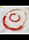 Narancssárga, egyedi, kézműves, designer, hullám karkötő - Liv Ékszerek, ékszer