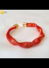 Narancssárga, egyedi, kézműves, designer, hullám nyaklánc, karkötő ékszerszett  - Liv Ékszerek, ékszer