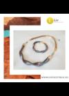 Türkiz, barna csíkos, egyedi, kézműves hullám nyaklánc, karkötő ékszerszett - Liv Ékszerek, ékszer