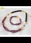 """Rózsaszín, fekete, egyedi, kézműves design """"hullám""""nyaklánc, karkötő ékszerszett  - Liv Ékszerek, ékszer"""
