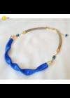 Indigókék, egyedi, kézműves, design, hullám nyaklánc - Liv Ékszerek, ékszer