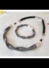 Fekete, ezüst csíkos, egyedi, kézműves hullám nyaklánc, karkötő ékszerszett - Liv Ékszerek, ékszer Fekete, ezüst csíkos, egyedi, kézműves hullám nyaklánc, karkötő ékszerszett - Liv Ékszerek, ékszer