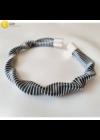 Fekete, ezüst csíkos, egyedi, kézműves hullám nyaklánc, karkötő ékszerszett - Liv Ékszerek, ékszer
