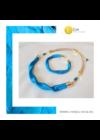Égszínkék, arany színű, egyedi, kézműves, designer, hullám nyaklánc, karkötő ékszerszett  - Liv Ékszerek,  ékszer
