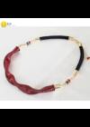 Piros, fekete csíkos, egyedi, kézműves hullám nyaklánc - Liv Ékszerek, ékszer