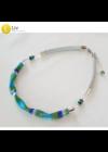 Kék, zöld szivárványos,  kézműves hullám nyaklánc, karkötő - Liv Ékszerek, ékszer