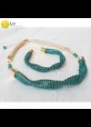 Egyedi, kézműves, designer nyaklánc,  karkötő ékszerszett,  színes ékszer, ajándék,2