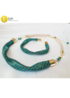 Egyedi, kézműves, designer nyaklánc,  karkötő ékszerszett,  színes ékszer, ajándék,3