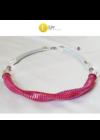 Rózsaszín, piros, lila, egyedi, kézműves, designer nyaklánc, közeli