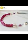 Rózsaszín, piros, lila, egyedi, kézműves, designer nyaklánc, gyöngy ízület
