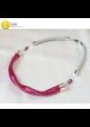 Rózsaszín, piros, lila, egyedi, kézműves, designer nyaklánc