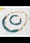 Egyedi, kézműves, designer nyaklánc,  karkötő ékszerszett,  színes ékszer, ajándék