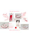 Piros, ezüst színű kézműves ékszerszett, nyaklánc, karkötő, fülbevaló
