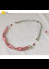 Piros,,ezüst színű,  kézműves nyaklánc