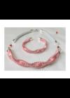 Piros, ezüst színű, kézműves, designer nyaklánc, karkötő ékszerszett
