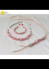 Piros, ezüst színű,  kézműves nyaklánc, karkötő, fülbevaló, hosszú nyaklánc, ékszerszett