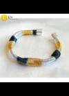 Sárga, ezüst, fekete, kézműves, designer karkötő