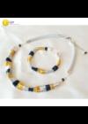 Sárga, ezüst, fekete, kézműves, designer nyaklánc, karkötő, ékszerszett