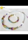 Színes, egyedi, kézműves nyaklánc, karkötő, ékszerszett, 1- Liv