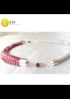 Piros, ezüst színű, egyedi mintás, kézműves designer nyaklánc - Liv Ékszerek, ékszer