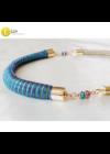 Kék, zöld, lila, kézműves,  designer nyaklánc, színes nyaklánc