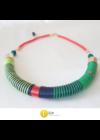 Kék, zöld, piros, egyedi, kézműves pamut nyaklánc