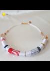 Fehér, kék, piros, és arany színű, fém szállal tekert, kézműves, design nyaklánc
