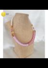 Fehér, rózsaszín, bordó, egyedi, design nyaklánc