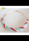 Türkiz zöld, piros, fehér, egyedi kézműves, vastag csavart pamut nyaklánc