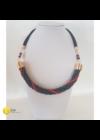 Fekete, piros, fém szállal tekert, egyedi, kézműves, csavart, design nyaklánc