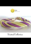 Neonsárga, lila, egyedi, kézműves, csavart, flexibilis, fém karkötő