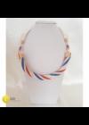 Fehér, piros, kék, egyedi, kézműves, csavart, design nyaklánc