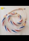 Fehér, piros, kék, egyedi, kézműves, csavart, design karkötő