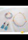 Lazac-türkiz, egyedi ,kézműves nyaklánc, karkötő, fülbevaló ékszer szett
