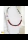 Rózsaszín, zöld, arany, barna, egyedi, kézműves, designer csavart nyaklánc - Liv Ékszerek, ékszer.