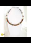 Türkiz, narancssárga, ezüst színű, egyedi, kézműves, designer csavart nyaklánc - Liv Ékszerek, ékszer.