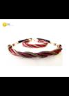 Rózsaszín, fekete, arany színű, egyedi, kézműves, designer csavart nyaklánc, karkötő ékszerszett - Liv Ékszerek, ékszer