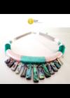 Smaragdzöld, barackvirág színű, egyedi, kézműves, designer nyaklánc, nyakék - Liv Ékszerek, ékszer