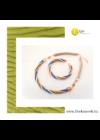 Kék, zöld, barackvirág színű, egyedi, kézműves, designer,csavart karkötő, nyaklánc, ékszerszett - Liv Ékszerek, ékszer