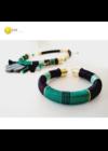 Smaragdzöld, fekete, türkizzöld, egyedi, kézműves, designer, selyem karkötő - Liv Ékszerek, ékszer